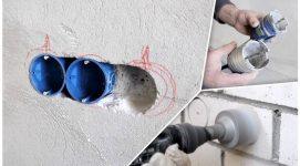 Как установить внутреннюю розетку в бетонной стене