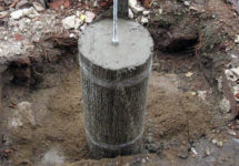 заливка опоры бетоном