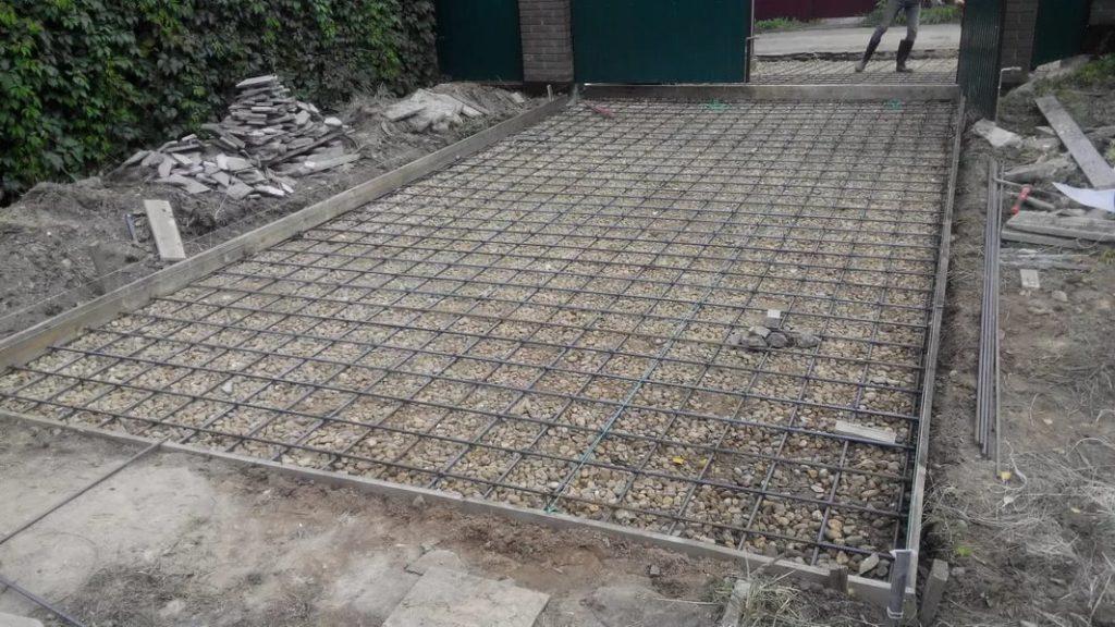 бетонирование площадки под машину